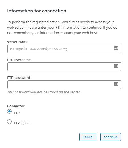 WordPress needs to access your web server