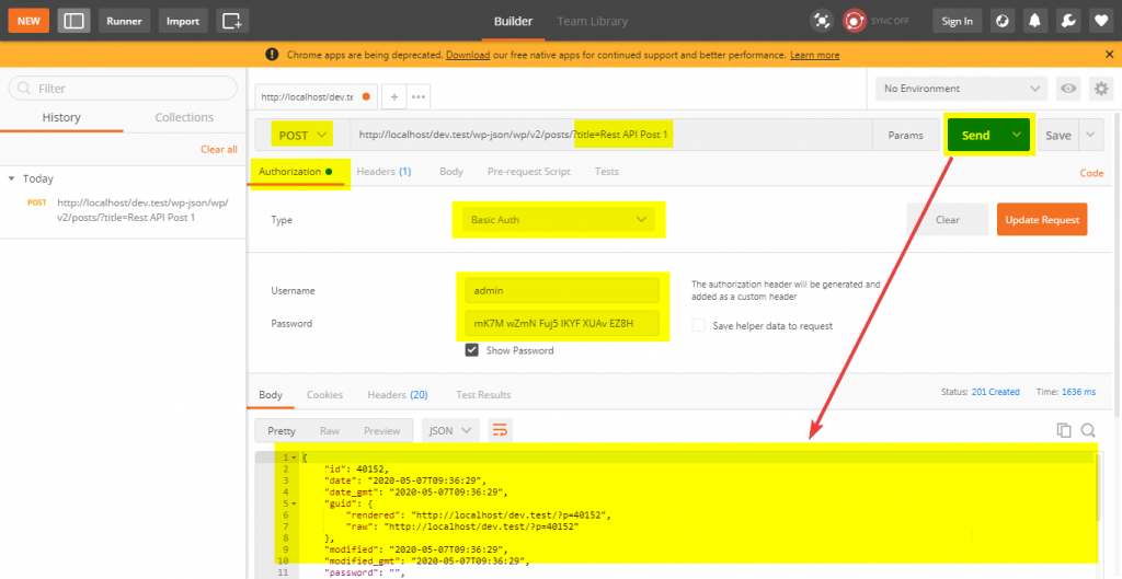 Create a new post Rest API request with the Postman.