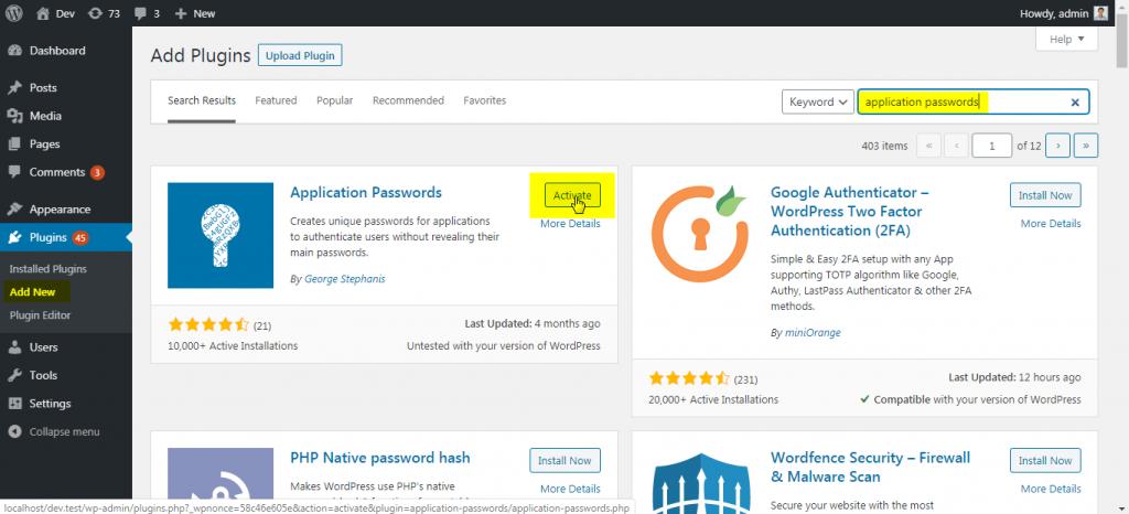 Application Passwords plugin installation screen.